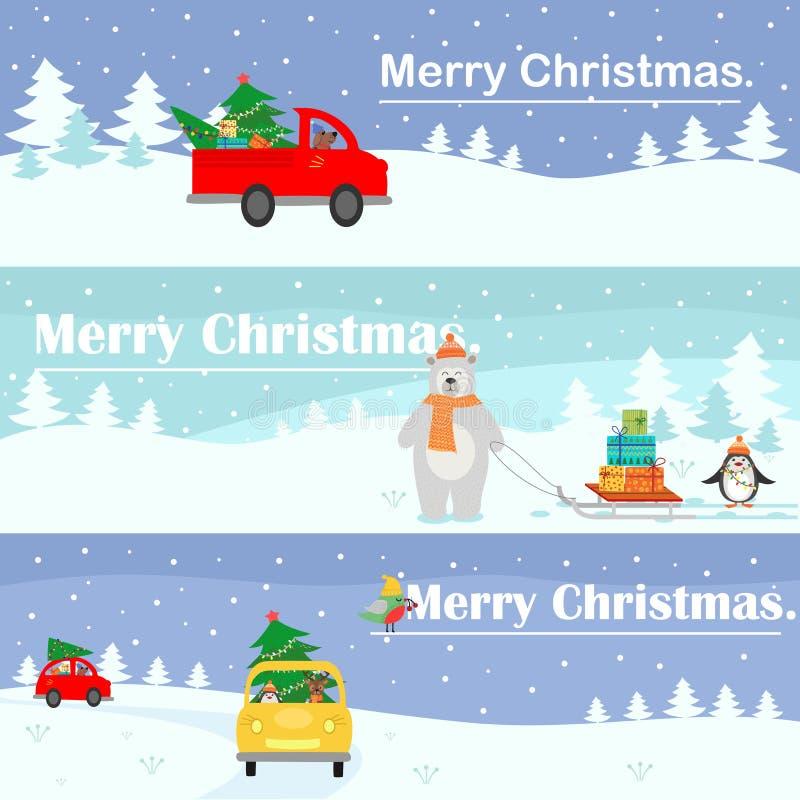 Картина рождества установленная знаменами установьте текст Иллюстрация с ландшафтом сказки, автомобиль вектора нося рождественску иллюстрация вектора