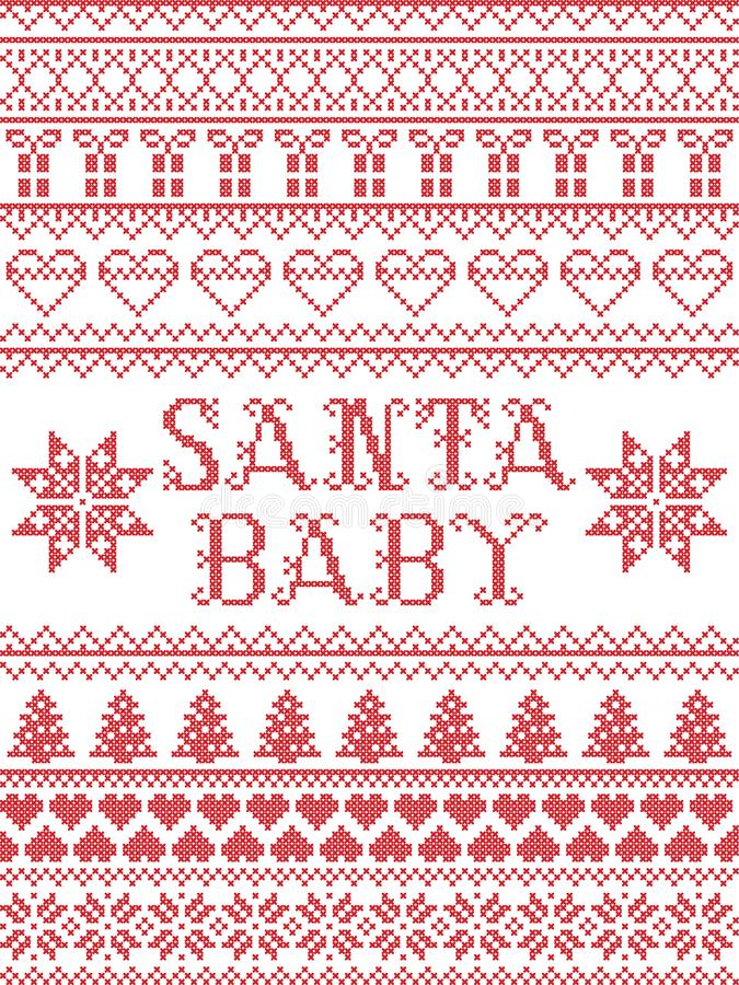 Картина рождественского гимна младенца Санты картины рождества безшовная воодушевила к зима нордической культуры праздничная в пе иллюстрация штока