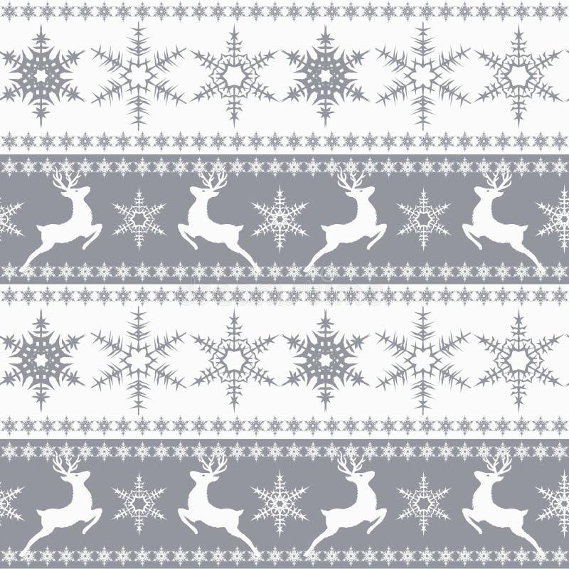 картина рождества безшовная Белые снежинки, олени, серые бесплатная иллюстрация