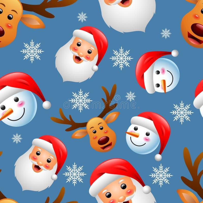 Download Картина рождества безшовная с счастливыми снеговиком, оленями и Санта Клаусом Иллюстрация штока - иллюстрации насчитывающей шарф, снежок: 81800442