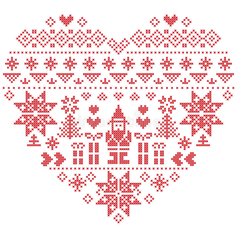 Картина рождества формы сердца с Санта Клаусом на белой предпосылке иллюстрация вектора
