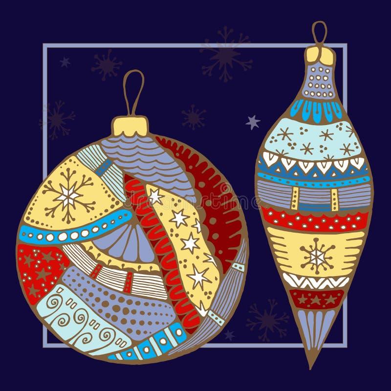 Картина рождества doodle запаса с boll, звездой и snowfl бесплатная иллюстрация