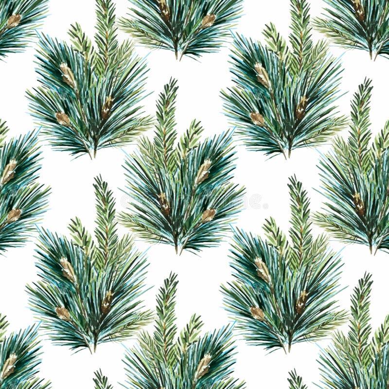 Картина рождественской елки акварели вектора иллюстрация вектора