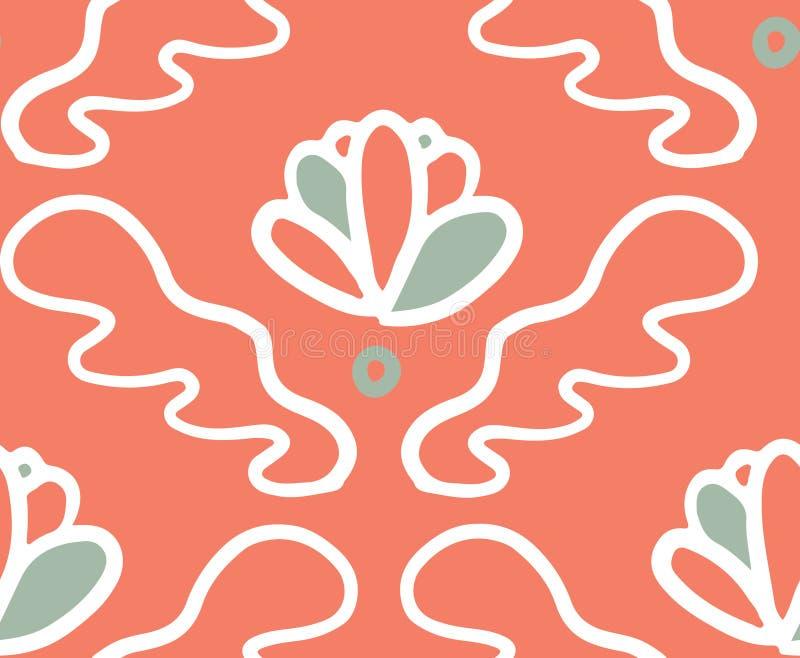Картина розового зеленого цветеня орнамента безшовная иллюстрация вектора