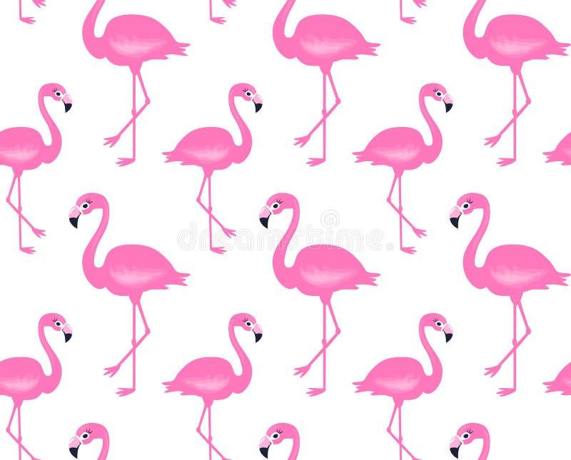 Картина розового фламинго вектора безшовная лето предпосылки тропическое бесплатная иллюстрация