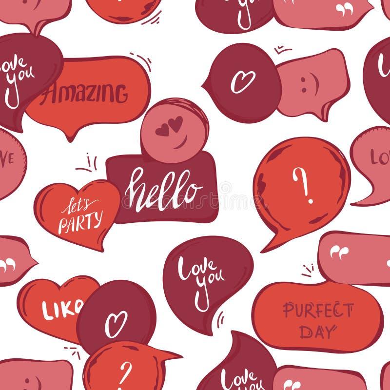 Картина розовых пузырей речи безшовная Предпосылка вектора красных пузырей со словом: здравствуйте, изумляющ, полюбите вас, идеал иллюстрация вектора