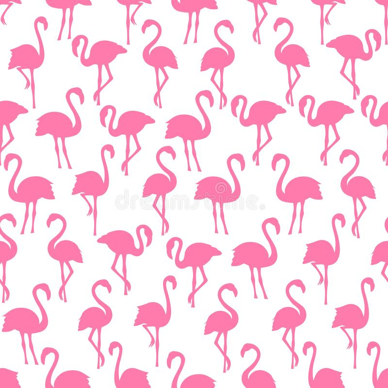Картина розовых силуэтов фламинго безшовная на белой предпосылке иллюстрация вектора