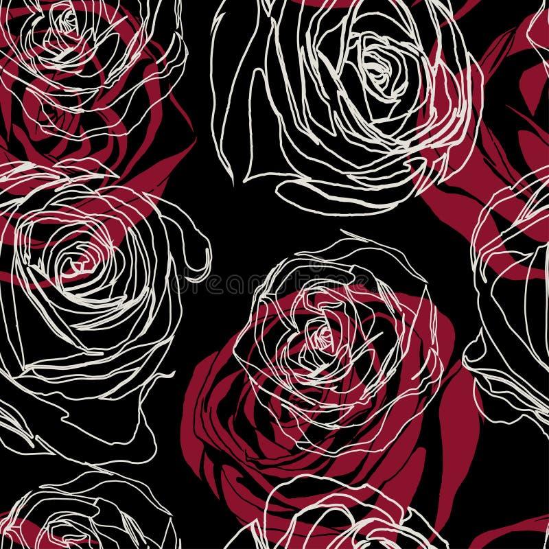 Картина розовых цветков ретро на черной предпосылке иллюстрация вектора