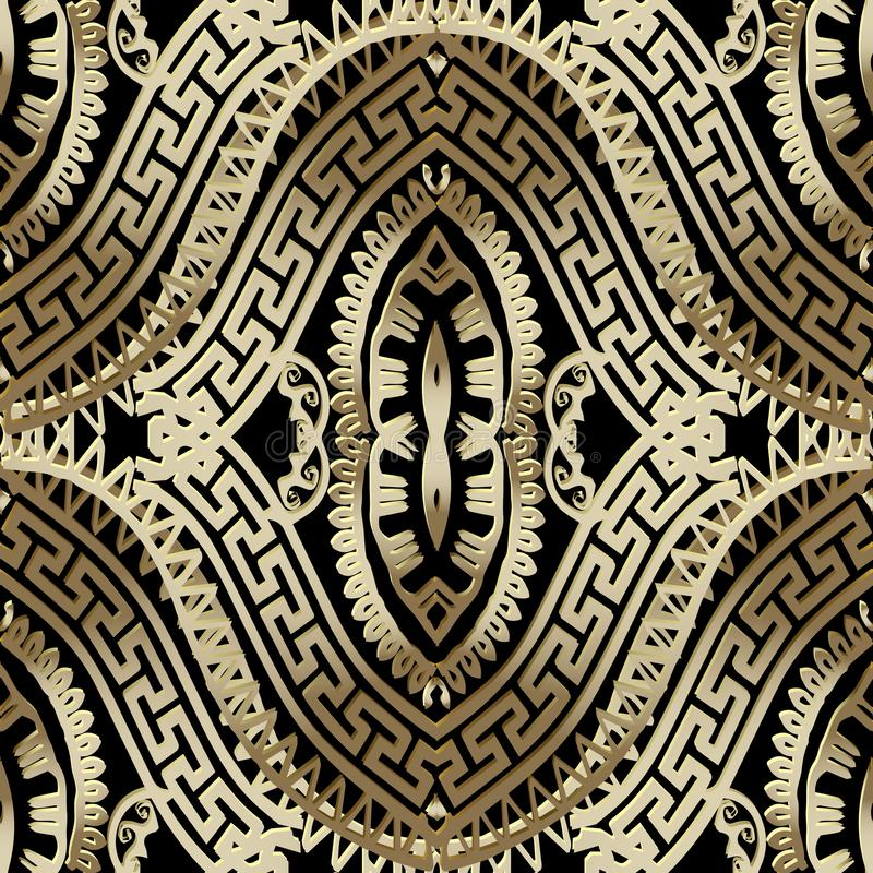 Картина роскошного богато украшенного вектора золота 3d греческого безшовная орнаментально бесплатная иллюстрация