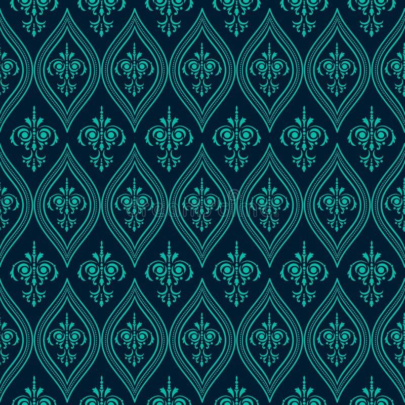 Картина роскошного штофа безшовная Голубой цвет вектор бесплатная иллюстрация