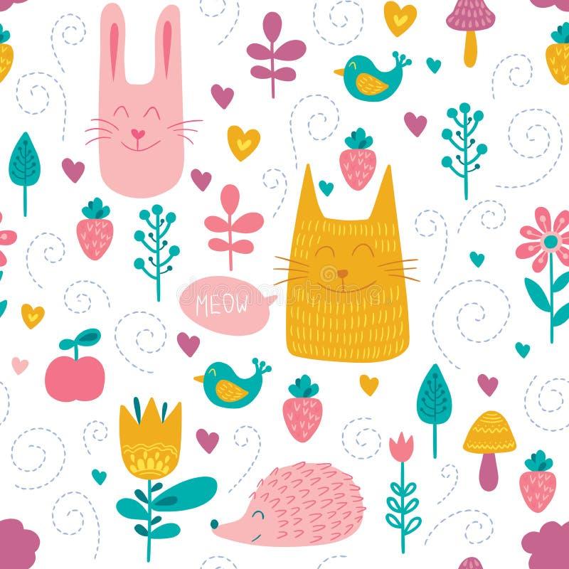 Картина друзей леса безшовная Ягнит красочная предпосылка с милыми животными, птицами и заводами Симпатичная ребяческая текстура  иллюстрация штока