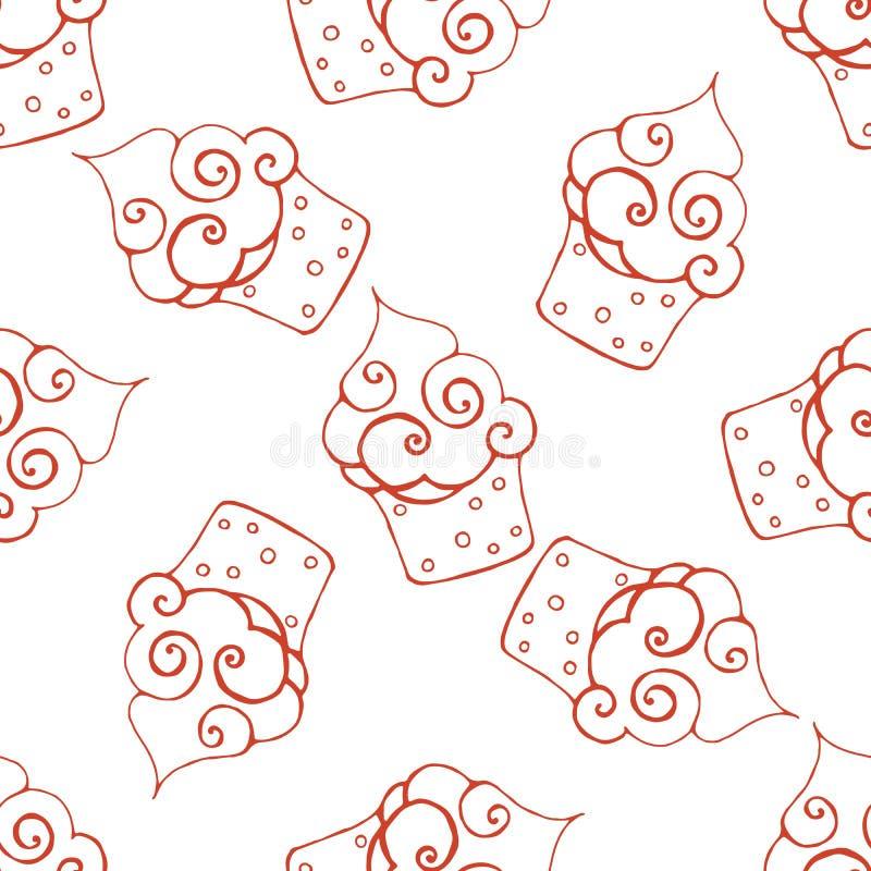 Картина руки вычерченная безшовная с пирожным doodle иллюстрация штока
