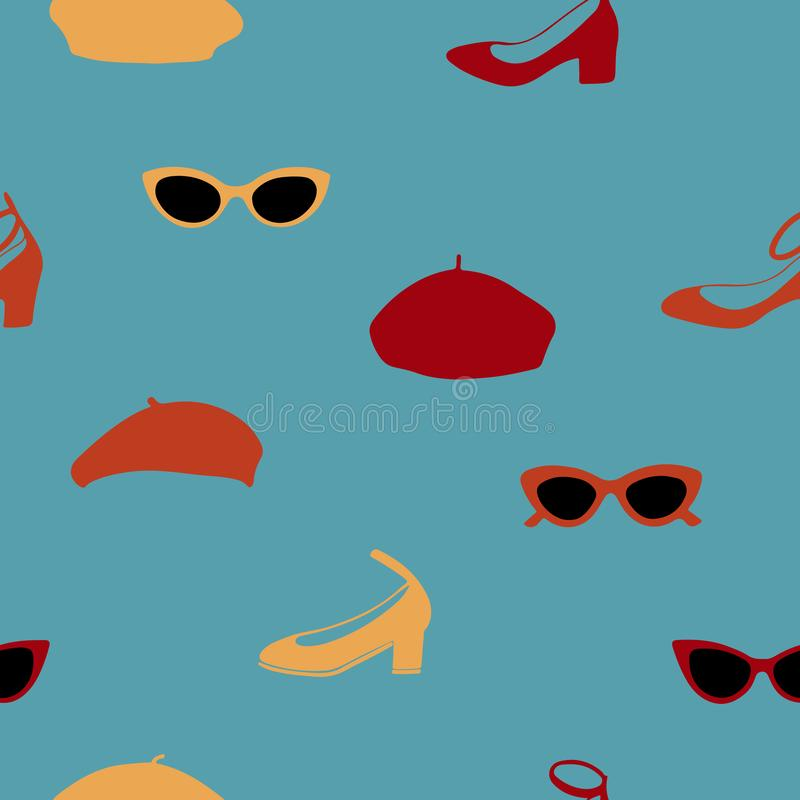 Картина руки вычерченная безшовная с солнечными очками, ботинками и беретами на голубой зеленой предпосылке иллюстрация штока