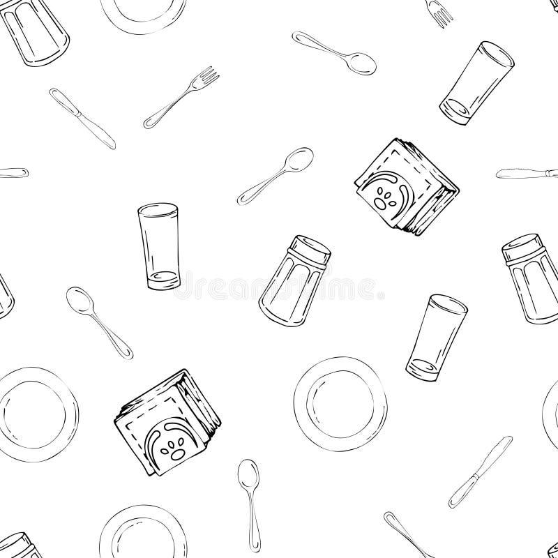 Картина руки вычерченная безшовная с утварями кухни иллюстрация вектора