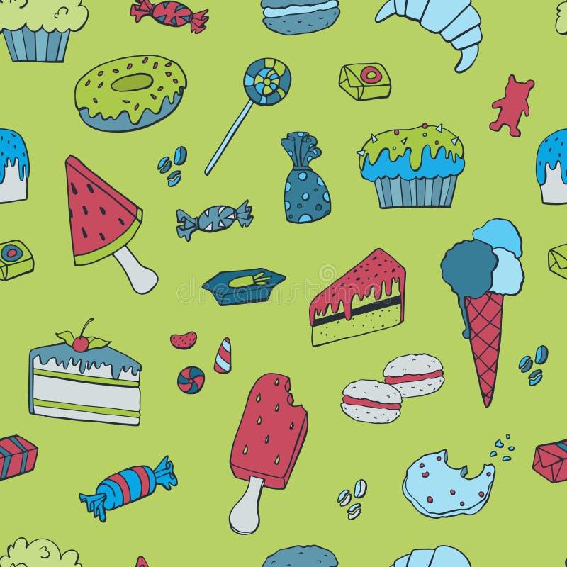Картина руки вычерченная безшовная, шаблон с мороженым, булочками, помадками, конфетой r иллюстрация вектора