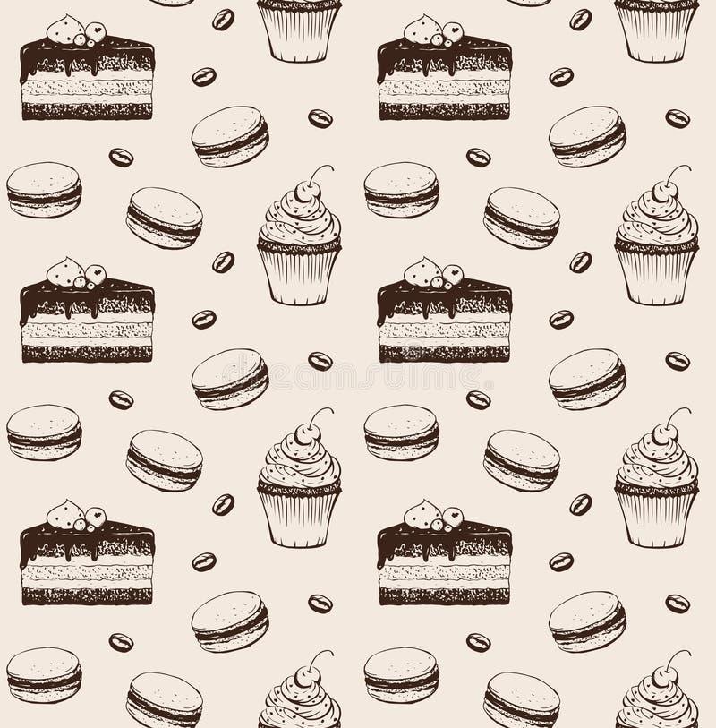 Картина руки пекарни помадок вычерченная безшовная бесплатная иллюстрация