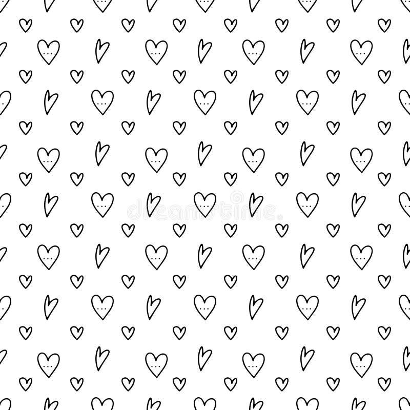 Картина руки сердца Doodle вычерченная безшовная иллюстрация вектора