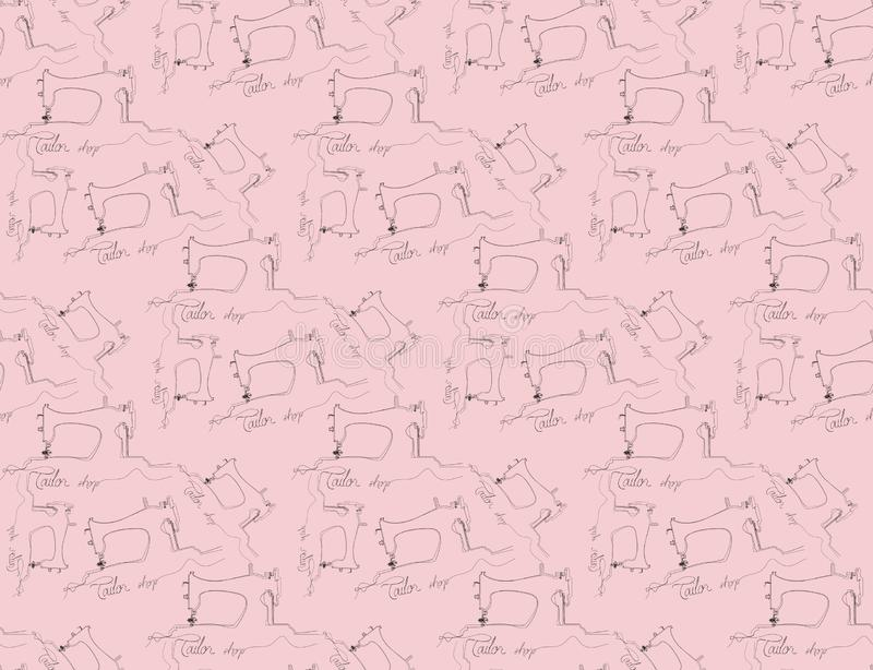 Картина руки Atelier вычерченная безшовная Шить инструменты doodle предпосылка Иллюстрация моды с объектами эскиза швейной машины иллюстрация вектора