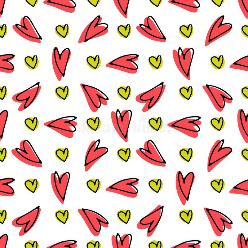 Картина руки doodle сердца вычерченная безшовная бесплатная иллюстрация