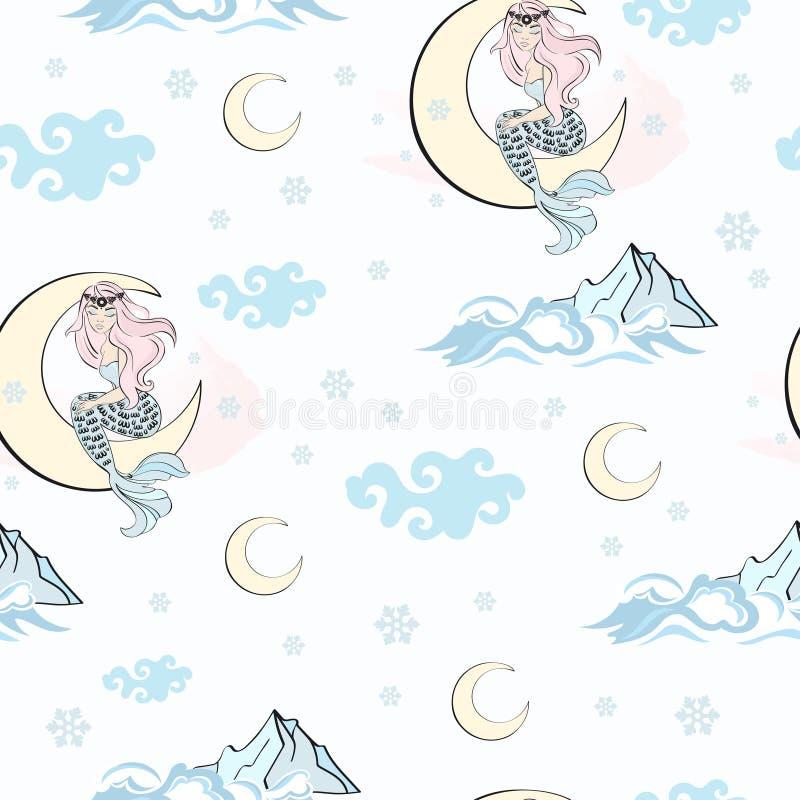 КАРТИНА РУСАЛКИ ЛУНЫ картины с Рождеством Христовым Нового Года партии праздника дня рождения свадьбы безшовная бесплатная иллюстрация