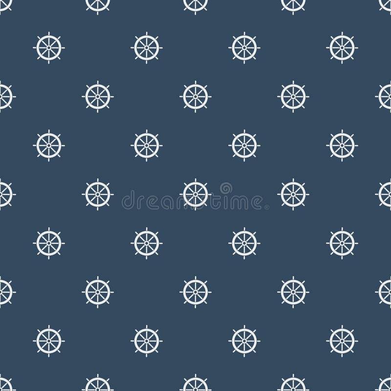 Картина рулевого колеса шлюпки на предпосылке сини военно-морского флота иллюстрация штока