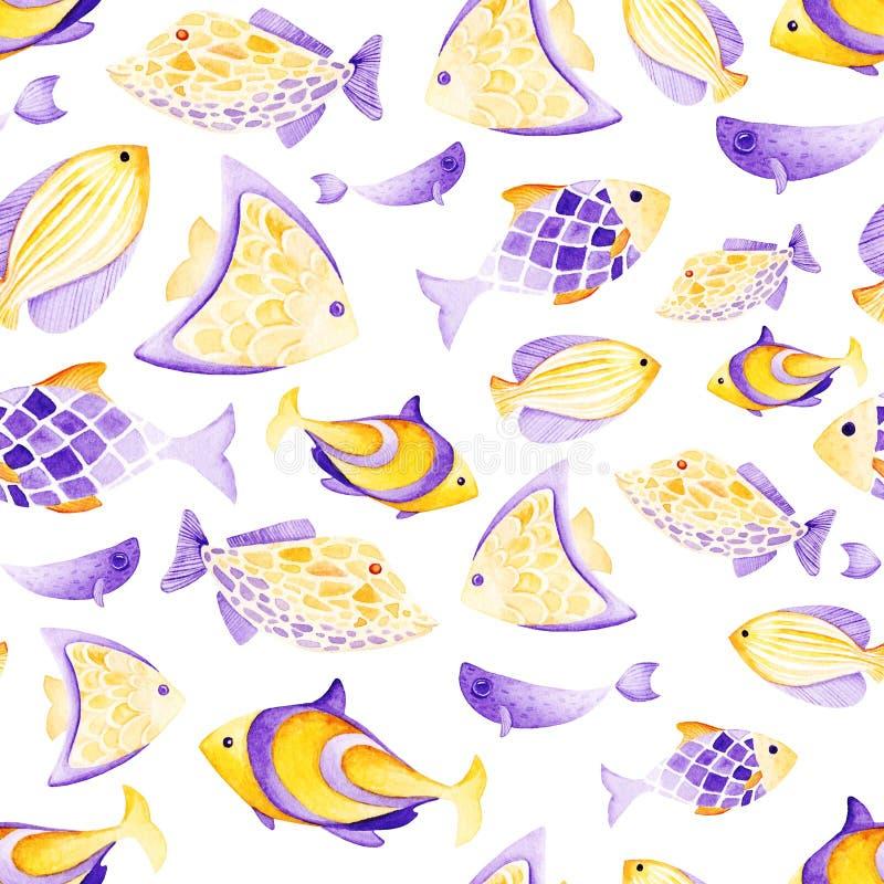 Картина рыб акварели различная Ультрафиолетовый луч и золото иллюстрация вектора