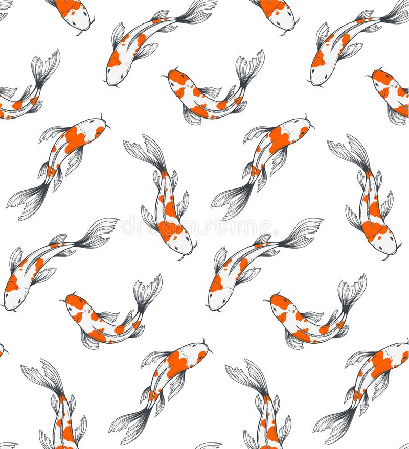 Картина рыб Koi иллюстрация вектора