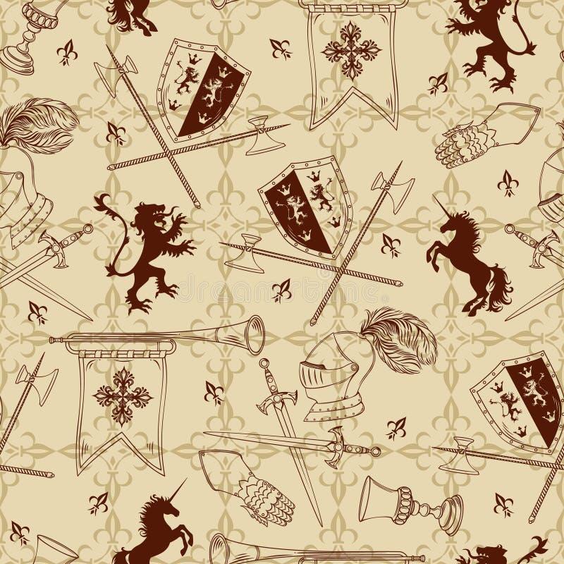 Картина рыцаря безшовная иллюстрация штока