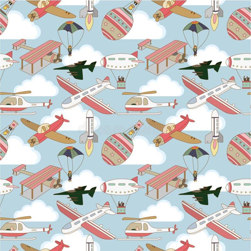 картина самолета безшовная бесплатная иллюстрация
