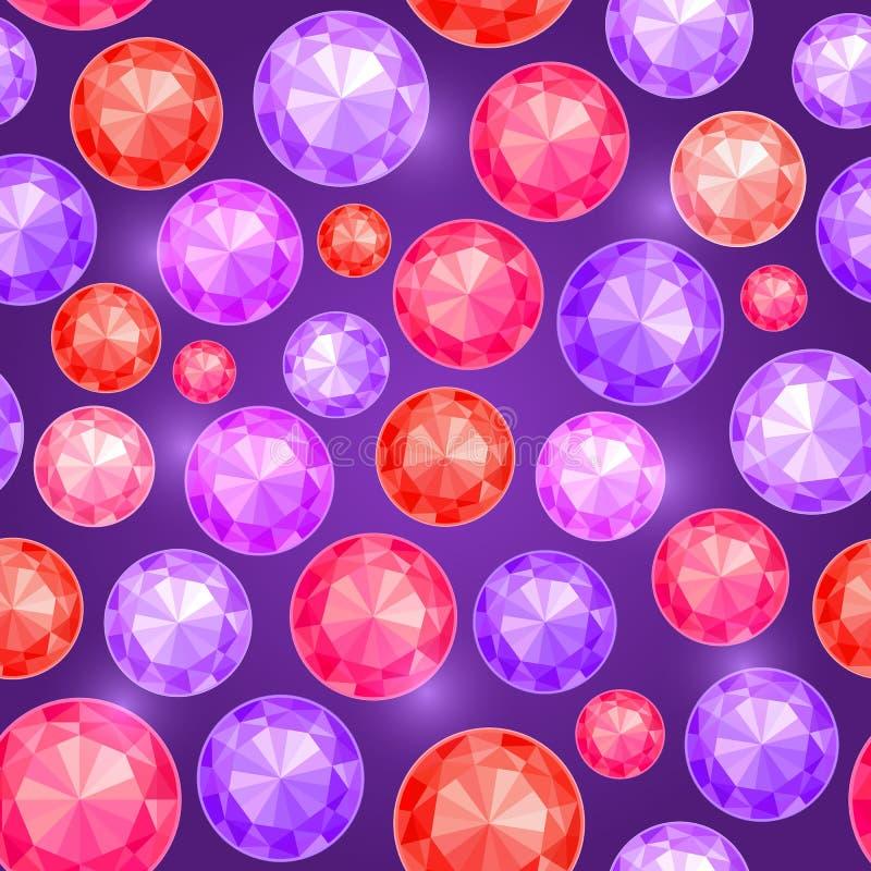 Картина самоцвета безшовная на темной фиолетовой предпосылке бесплатная иллюстрация