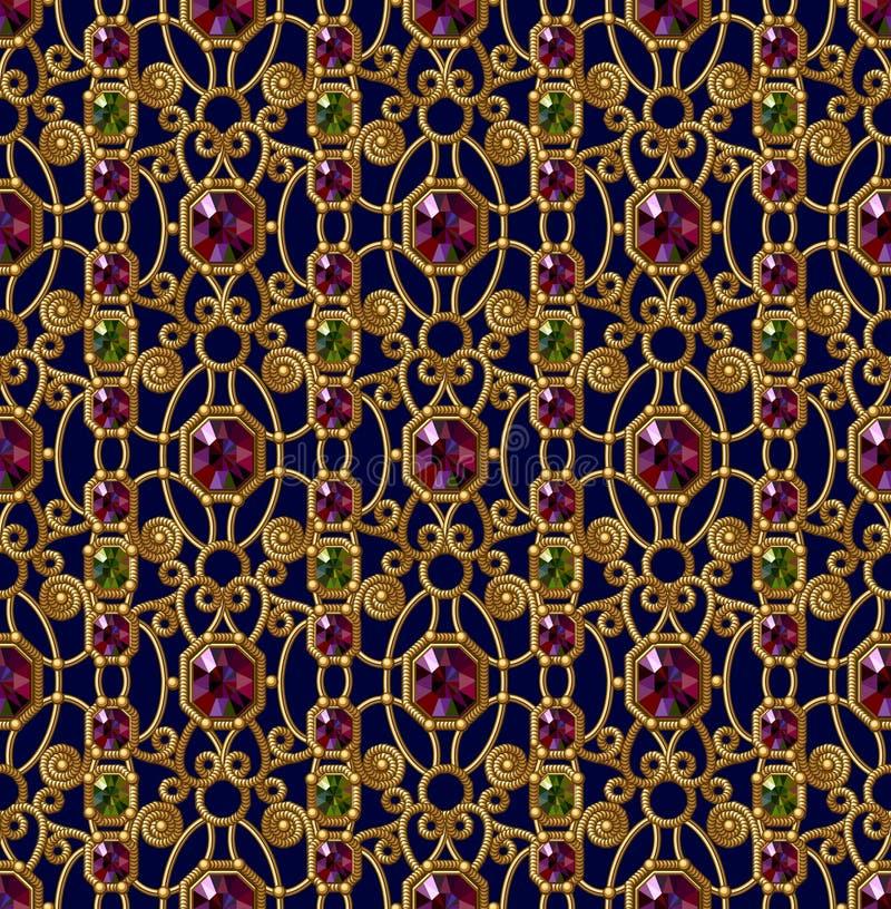 Картина самоцветов безшовная каллиграфический орнамент золота элементов конструкции Картина очарования эмаль иллюстрация вектора