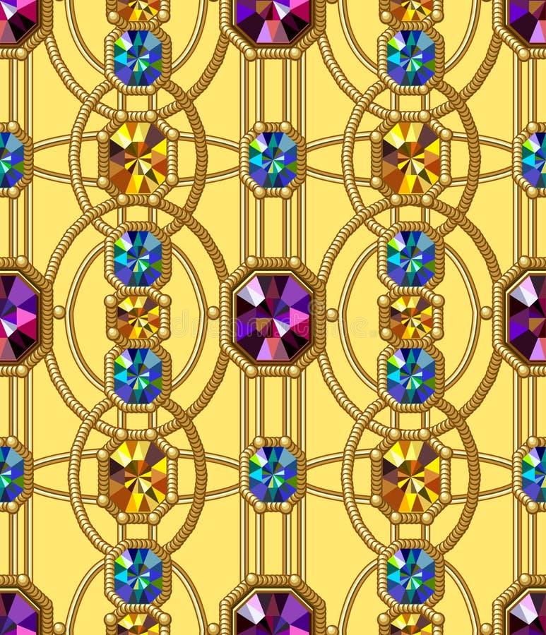 Картина самоцветов безшовная Предпосылка вектора Предпосылка очарования желтая иллюстрация штока