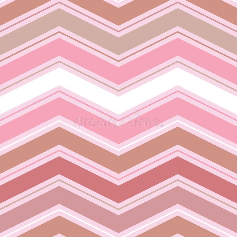 Картина свежего элегантного вектора безшовная с шевронами в беже и тенями сливк на розовой предпосылке бесплатная иллюстрация