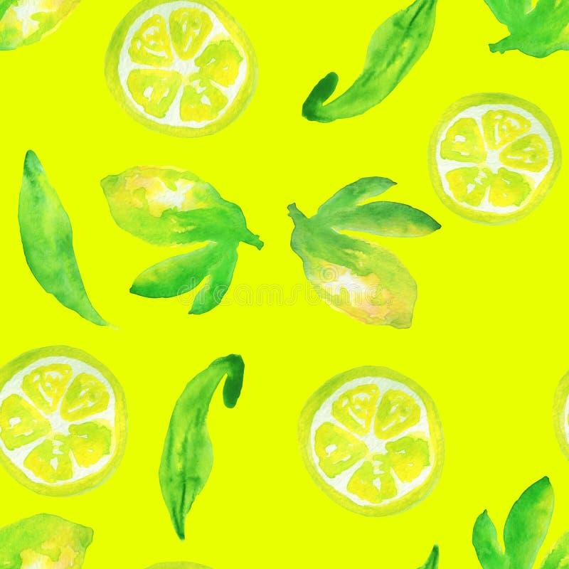 Картина свежих лимонов безшовная на желтом цвете иллюстрация вектора