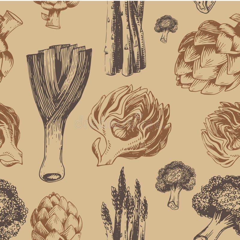 Картина свежих органических овощей безшовная бесплатная иллюстрация