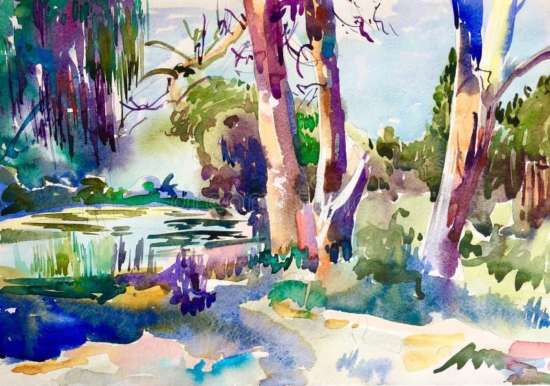 Картина сельского ландшафта, сельская местность акварели aquarelle воздуха plein красочная иллюстрация вектора