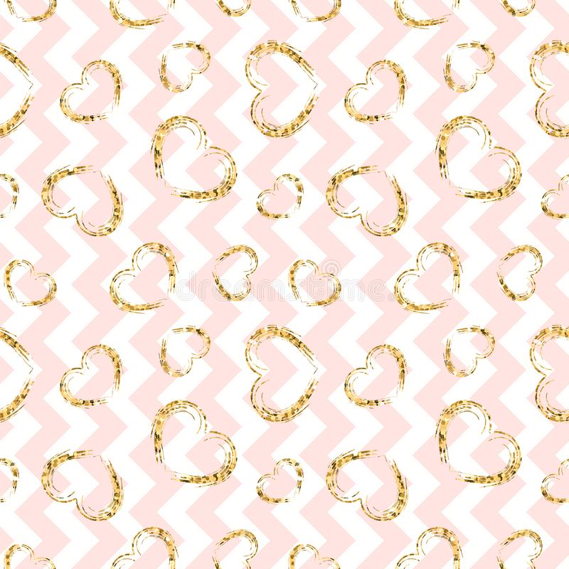Картина сердца золота безшовная Розов-белый геометрический зигзаг, золотые confetti-сердца grunge Символ влюбленности, дня валент бесплатная иллюстрация