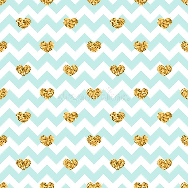 Картина сердца золота безшовная Сине-белый геометрический зигзаг, золотые confetti-сердца Символ влюбленности, праздника дня вале иллюстрация штока