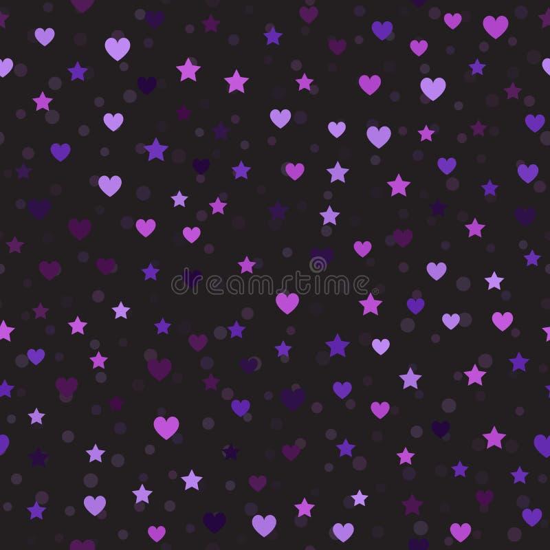 Картина сердца и звезды с пятнами вектор предпосылки безшовный иллюстрация штока