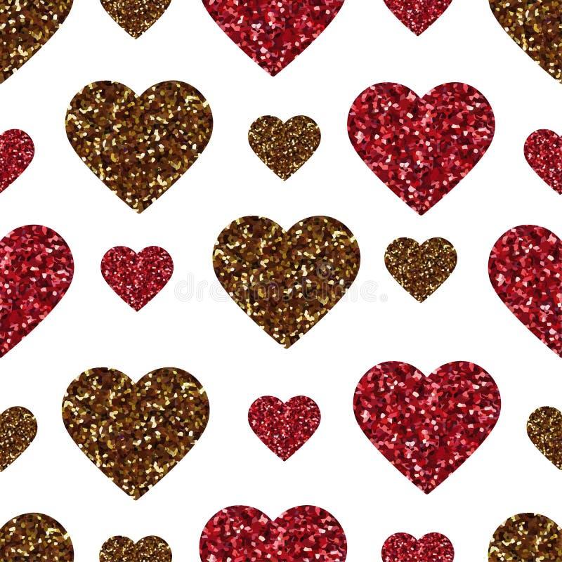 Картина сердца яркого блеска золота безшовная Символ влюбленности, праздника дня валентинки Обои дизайна, предпосылка, текстура т иллюстрация вектора