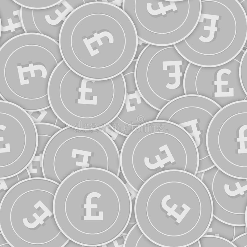 Картина серебряных монет английского фунта безшовная Splen иллюстрация штока