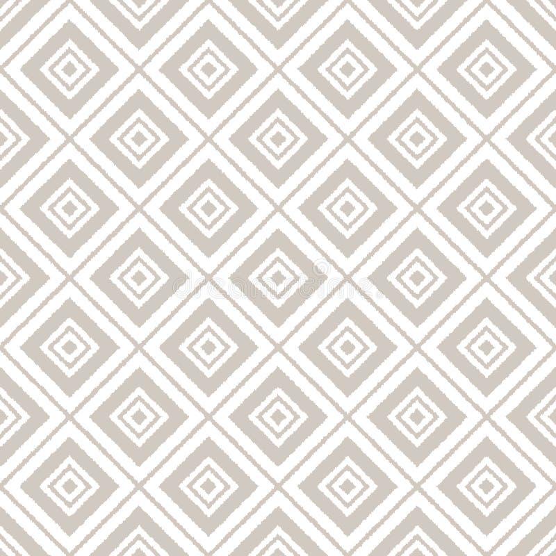 Картина серой и белой ткани орнамента ikat геометрической абстрактной безшовная, вектор иллюстрация вектора