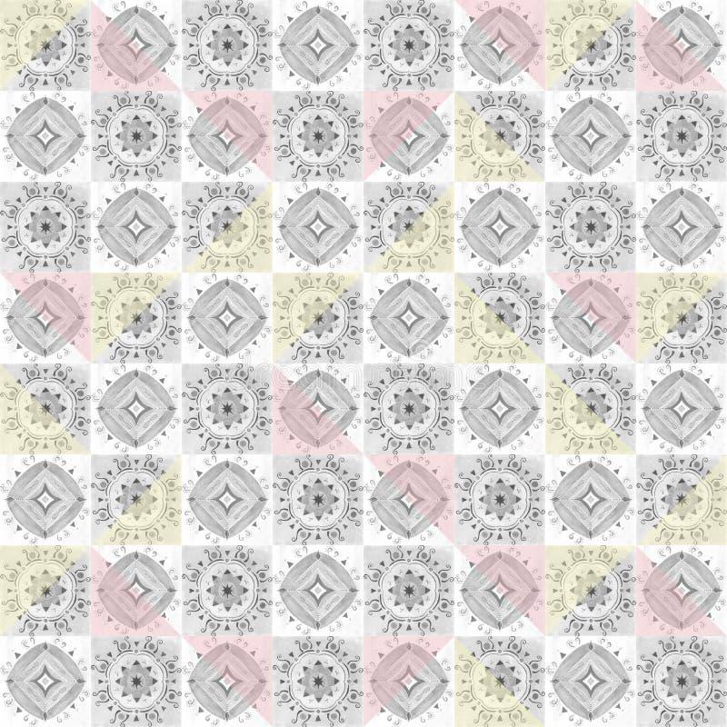 Картина серой плитки орнаментальная безшовная иллюстрация штока