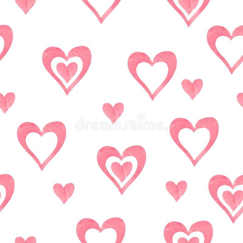 Картина сердец акварели безшовная иллюстрация штока