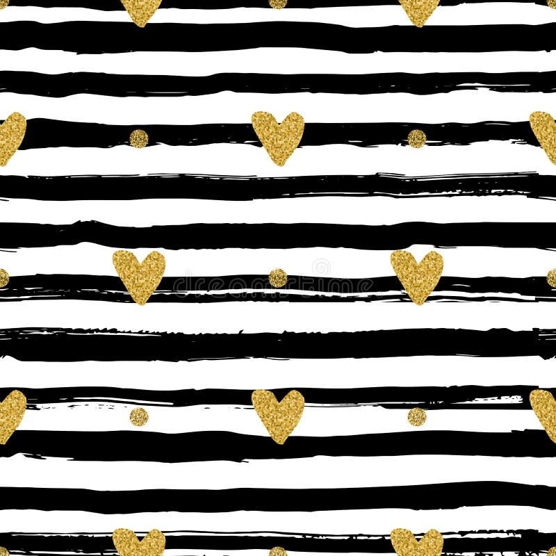 Картина сердец золота безшовная, нарисованная вручную черная щетка нашивок и чернила иллюстрация вектора