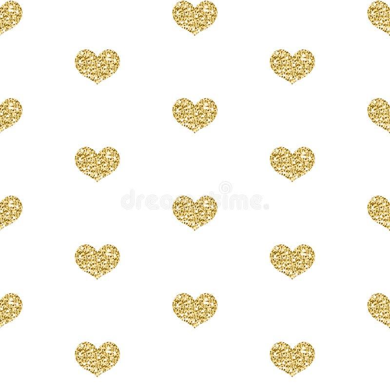 Картина сердца яркого блеска золота безшовная на белой предпосылке Предпосылка сияющего сердца бесконечная, текстура вектор бесплатная иллюстрация