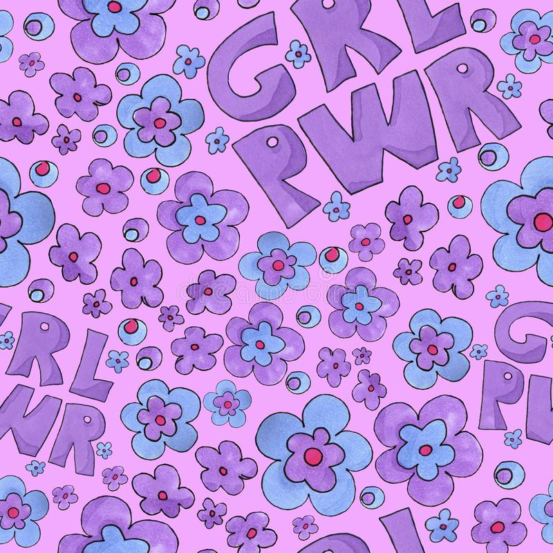 Картина силы девушки grl pwr с красочными цветками иллюстрация штока