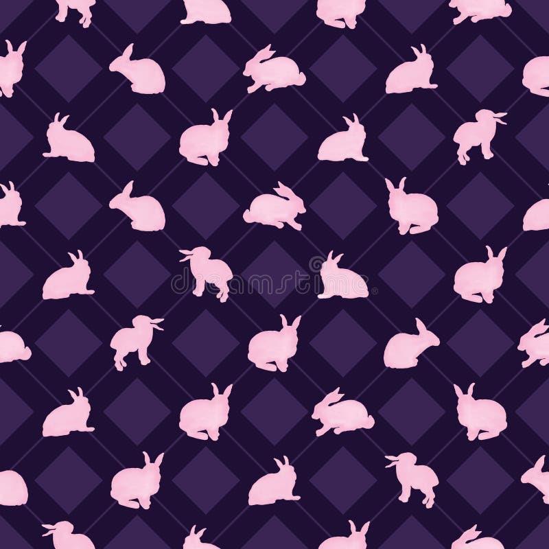 Картина симметрии диаманта акварели кролика безшовная иллюстрация штока