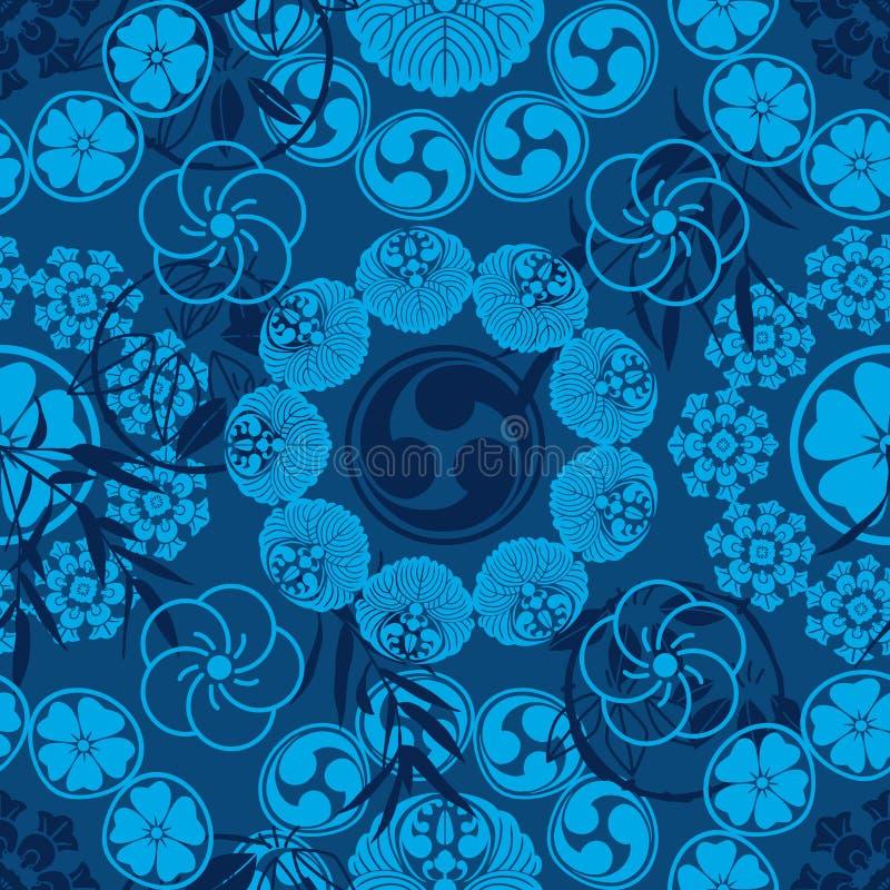 Картина симметрии мандалы понедельника японца бамбуковая безшовная иллюстрация вектора