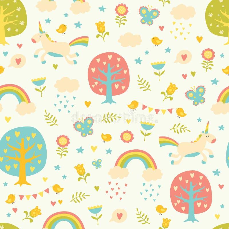 Картина симпатичного вектора безшовная с милыми единорогами бесплатная иллюстрация